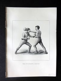 Badminton Library 1889 Boxing Print. Lead Off at the Body